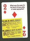 Apartheid South African Racial Segregation Policy Neat Playing Card #9Y4
