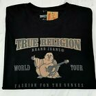 True Religion Graphic Tee Black Mens Large T-Shirt NEW Tan Buddha Logo Spell Out image