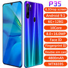 P35 Smartphone 6.3'' Android 9.1 Dual Sim 6g+128g Mobile Phone Face Unlock