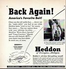 1946 Print Ad Heddon Shore Minnow Fishing Lures Stringer of Bass Dowagiac,MI