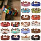 7 Chakra Bracelet Women Handmade Natural Stone Tube Beads Leather Bangle Gift image