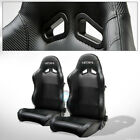 For BMW Buick SP Black PVC Leather Stitch Reclinable Racing Seats+Slider Pair