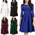 Women 3/4 Sleeve Prom Gown Evening Party Cocktail Bridesmaid Toast Wedding Dress