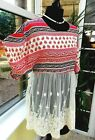 BNWT Gorgeous APRICOT Contrast Pattern Print Fabric/Lace Decorated Top sz 10