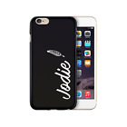 HAIRYWORM PERSONALISED WHITE FEATHER NAME ON BLACK SILICONE GEL PHONE CASE