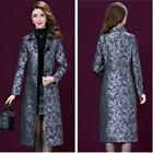 New Women Floral Printed Trench Coat Jacket Outwear Autumn Parka Overcoat Ethnic