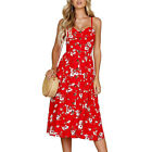 Boho Women Ladies Summer Beach Midi Dress Holiday Backless Strappy Pocket Button