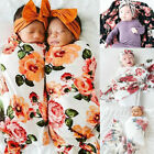 Newborn Infant Baby Floral Swaddle Turban Hat Soft Sleeping Blanket Wrap Set US