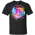 Womens Woodstocks 50th Anniversary Peace Love T-Shirt VTG Black-Navy Short Men image
