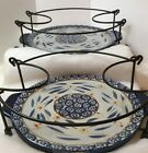 Two Temp-tation Presentable Ovenware  8.5 10.5 Black Wire Rack With Two Plates