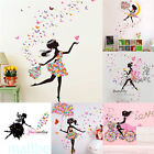 Flower Girl Butterfly Fairy Art Wall Sticker Diy Bed Room Decoration Pvc Decals