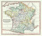 1845 Ewing Map of France in Departments