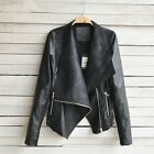 Womens Ladies Hooded Fur Leather Biker Blazer Jacket J02 Plus Size Coat Hooded <br/> Sealed Brand New - Worldwide Shipping