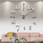 Fashion Circular DIY Clock Stainless Steel Wall Sticker Living Room Home Decor
