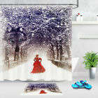 Woman In Red Dress Winter Snow Wolf Oil Painting Pattern Shower Curtain Hook Mat