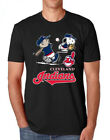 MLB-Charlie Brown Snoopy Cleveland Indians T-Shirt Black classic tee S-5XL image