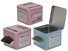 Rectangle Metal Tin Cookie Box With Flap - Pastel Coloured - Tea Coffee Biscuit