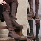 Mens Vintage Knight Knee High Lace Up Boots Steampunk Tall Cosplay Belt Shoes