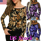 Sexy Women Cold Shoulder T-Shirt Camouflage Printed Long Sleeve Slim Tops Blouse