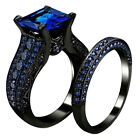 2Pcs Women Square Cubic Zirconia Finger Ring Engagement Wedding Jewelry Sanwood