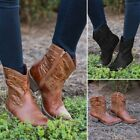 Womens Medieval Leather Boots Steampunk Vintage Combat Cowboy Short Martin Boots