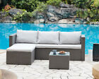 Outdoor Sofa Set Garden Furniture Black Grey Or Dark Brown Table, Chaise, Sofa