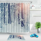 Winter Forest Shower Curtain Hooks Snow Covered Trees In Sunshine Bathroom Mat