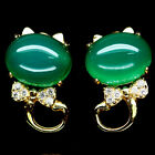 NATURAL 7 X 9mm. GREEN AGATE & WHITE CZ TERLING 925 SILVER EARRINGS