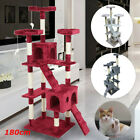 180cm Cat Tree Floor to Ceiling High Scratching Post Tower Activity Centre gh