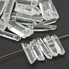 21 long clear quartz spike beads semiprecious stone points avg length 25mm