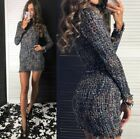 Dress Women Vintage 1pc Casual Cotton A Line Turtleneck Plaid Tweed Mini Bodycon