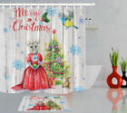 Merry Christmas Shower Curtain Mouse In Red Skirt Xmas Tree Rustic Wood Bath Mat