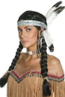 Native American Inspired Wig, Black, Plaits, with Feather Headband COST-ACC NEW