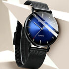 BELUSHI Men's 1985 Quartz Waterproof Stainless Steel Blue Face Analog Mesh Watch image