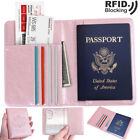 Travel Passport Holder Case Cover Luxury Leather RFID Blocking Wallet Pouch USA