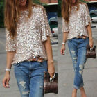 Women Ladies Off-shoulder Glistening Sequin Slim Shirt Tops Blouses Tee S/M/L/XL