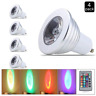 4X GU10 3W Color Change LED Bulb Remote Control Decoration Bar Party Lighting
