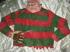 Freddy Kruger Kreuger Men's Medium Halloween Costume Sweater Claw Glove & Mask