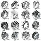 Silver 316l Stainless Steel Mens Rings Gothic Biker Band Ring Jewelry Lots 7-16