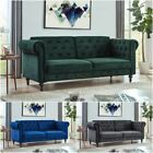 Velvet Sofa Bed Chesterfield Style 3 Seater Green Blue Grey Sofa Button...