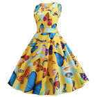Floral Print Dress 50s 60s Vintage Rockabilly Pinup Swing Sleeveless Dress Hot