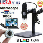 1000X USB Zoom 8LED Microscope Portable HD Digital Magnifier Endoscope Camera US