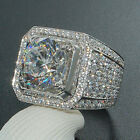 Men Silver Crystal Ring Plated ICED OUT Simulated Lab Diamond Band Micropave T