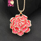 Betsey Johnson Enamel Crystal Rose Flower Pendant Sweater Chain Necklace Gift image