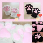 Women Girls Bear Cat Pink Claw Paw Fuzzy Fur Gloves Soft Plush Costume Mittens