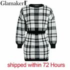 Glamaker Plaid knitted two-piece suit sexy autumn Dress women elegant winter swe