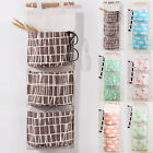 3 Pockets Wall Hanging Storage Bags Canvas Over Wardrobe Closet Organizer Pouch