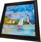 Nautical Watercolor Sailboat, Seagulls, Lighthouse Ocean Front Wall Art Print