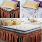 15in Drop Ruffles Bed Skirts Elastic Side Wrap Around for Twin Queen King Bed image