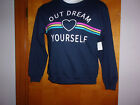 """NEW LADY'S """"WOUND UP"""" NAVY BLUE  L/S """"OUT DREAM YOURSELF"""" PRINT  SWEATSHIIRT"""